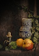 Food And Beverage Photo Originals - Stone jar with fruit and candlestick by Hugo Bussen