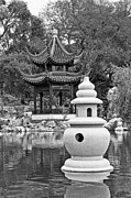 Jamie Pham - Stone Lantern - Chinese Garden and Pagoda in black and white.