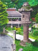 Japanese Tea Garden Paintings - Stone Lantern by Mike Robles