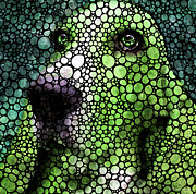 Wall Art Prints Digital Art - Stone Rockd Basset Hound Pop Art By Sharon Cummings by Sharon Cummings