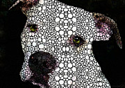 Pittie Mixed Media Prints - Stone Rockd Dog by Sharon Cummings Print by Sharon Cummings