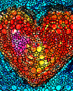 Cummings Digital Art - Stone Rockd Heart - Colorful Love From Sharon Cummings by Sharon Cummings