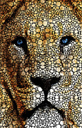 Men Mixed Media Metal Prints - Stone Rockd Lion 2 - Sharon Cummings Metal Print by Sharon Cummings