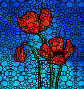 Mosaic Mixed Media Framed Prints - Stone Rockd Poppies by Sharon Cummings Framed Print by Sharon Cummings