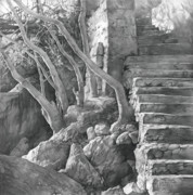 Photorealism Prints - Stone Staircase 2011 Print by Denis Chernov