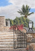 Blue Brick Pastels Prints - Stone Staircase Print by Angela Bruskotter