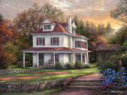 Cottage Painting Posters - Stone Terrace Farm Poster by Chuck Pinson