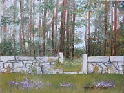 Wild Asters Paintings - Stone Wall on Highland Ave by Carol Veiga