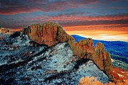 Colorado Mountain Posters Prints - Stone Wall Sunset Colorado Print by Barbara Chichester