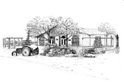 Vineyard Landscape Drawings Prints - Stonechurch Winery Print by Steve Knapp