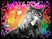 Haze Digital Art Prints - Stoned Again - Catnip Haze Print by Absinthe Art By Michelle LeAnn Scott