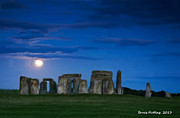 Stonehenge Digital Art Prints - Stonehenge at Night Print by Bruce Nutting
