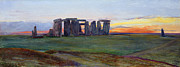 Mystic Sunset Posters - Stonehenge Poster by John William Inchbold