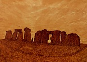 Europe Painting Acrylic Prints - Stonehenge Solstice original coffee painting Acrylic Print by Georgeta  Blanaru