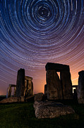 Startrails Posters - Stonehenge Startrails 3 Poster by Sharpimage Net