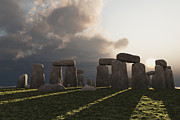 Stonehenge Digital Art Prints - Stonehenge Winter Sun Print by Mike Heywood