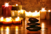 Meditative Photos - Stones Cairn and Candles by Olivier Le Queinec