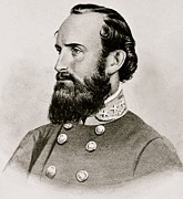 American Army Drawings Prints - Stonewall Jackson Confederate General Portrait Print by Anonymous