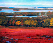 Blueberry Paintings - Stonington Bridge in Autumn by Laura Tasheiko