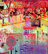 Stop Sign Digital Art Posters - Stop in St. Louis Park Poster by Susan Stone