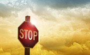 Stop Sign Digital Art Posters - Stop Poster by Lori Frostad