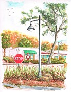 Stop Sign Painting Framed Prints - Stop sign and street light in Montecito - California Framed Print by Carlos G Groppa