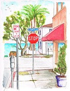 Stop Sign Painting Framed Prints - Stop sign in Laguna Beach - California Framed Print by Carlos G Groppa
