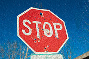 Stop Sign Digital Art Posters - Stop with bullet holes. Poster by Alan Sherlock