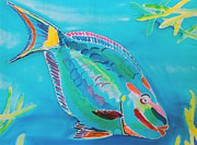 Parrot Tapestries - Textiles Metal Prints - Stoplight Parrot Fish Metal Print by Kelly     ZumBerge