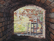 Brick Building Painting Framed Prints - Stopped in Time Framed Print by Lynette Cook