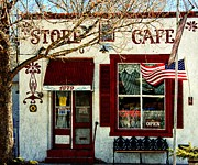 Waving Flag Digital Art - Store Cafe Americana by Barbara Chichester