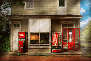 Red Door Prints - Store Front - Waterford Va - Waterford market  Print by Mike Savad