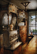 Pharmacy Prints - Store - Turn of the century soda fountain Print by Mike Savad