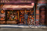 Cyclists Framed Prints - Store - Wine - NY - Chelsea - Wines and Spirits Est 1934  Framed Print by Mike Savad