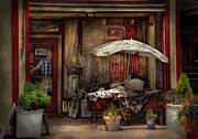 Umbrellas Metal Prints - Storefront - Frenchtown NJ - The Boutique Metal Print by Mike Savad