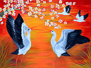Stork Paintings - Storks and Cherry Blossom by Oksana Semenchenko