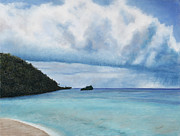 Sea Shore Pastels Prints - Storm at Roatan Print by Angela Bruskotter