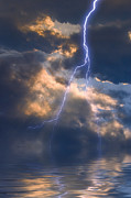 Lightning Digital Art - Storm At Sea by Ron Jones