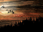 Canadian Geese Pastels - Storm Brewing Up by R Kyllo