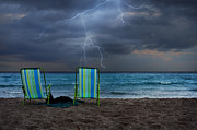 Beach Chairs Photo Framed Prints - Storm Chairs Framed Print by Laura  Fasulo