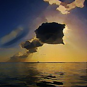John Malone Art Work Digital Art Metal Prints - Storm Cloud over Calm Waters Metal Print by John Malone