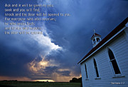 Country Church Framed Prints - Storm Clouds and Scripture Matthew country church Framed Print by Mark Duffy