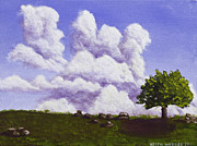 Blueberry Barrens Posters - Storm Clouds Over Maine Blueberry Field Painting Poster by Keith Webber Jr