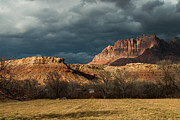 Geobob Metal Prints - Storm Clouds Rising over Mount Kinesava Zion Park Rockville Utah Metal Print by Robert Ford