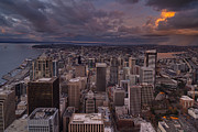 Elliott Prints - Storm Clouds Seattle Sunset Print by Mike Reid