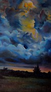 Printed Painting Posters - Storm coming at the sunset Poster by Alessandra Andrisani