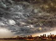 Storm Prints Digital Art Framed Prints - Storm Coulds over NYC Framed Print by Jerry Fornarotto