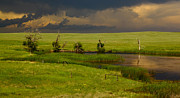Corral Metal Prints - Storm Crossing Prairie 1 Metal Print by Robert Frederick