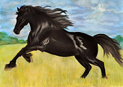 Black Horse Pastels Prints - Storm Dancer Print by Danae McKillop
