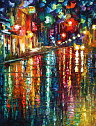Rain Painting Framed Prints - Storm in The City Framed Print by Leonid Afremov